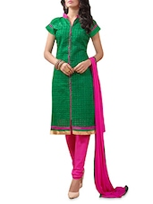 Green And Fuschia Embroidered Unstitched Suit Set - By