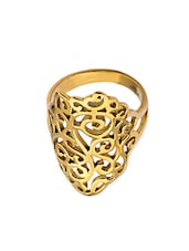 Gold Stainless Steel Ethnic Ring - By