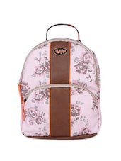 Light Pink Floral Printed Canvas Backpack - By
