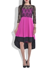 Pink And Black Laced Hi-low Dress - By