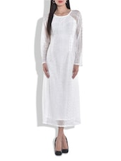 White Laced Full Sleeved Long Dress - By