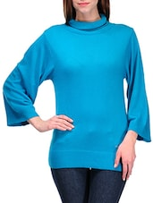 Solid Blue High Neck Pullover - By