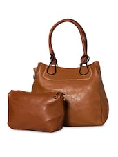 Brown Leatherette Handbag With Sling Pouch - By