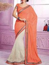 Orange And White Half And Half Chiffon Saree - By
