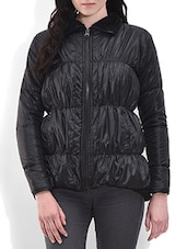 Solid Black Quilted Jacket - By