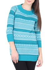 Light Blue Self Design Cotton Sweater - By
