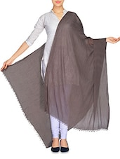 Coffee Brown Crush Cotton Dupatta With Beaded Ends - By