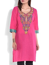 Pink Embroidered Quarter Sleeved Cotton Kurta - By