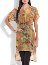 Multicolored Floral Printed High Low Kurti - By