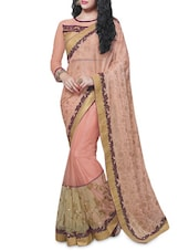 Blush Pink Embellished N Patch Worked Saree - By