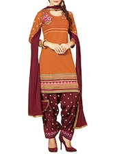 Orange And Maroon Embroidered Unstitched Suit Set - By