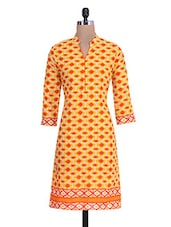 Yellow And Orange Cotton Printed  Kurta - By