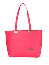 Solid Pink Faux Leather Handbag - By - 9686627