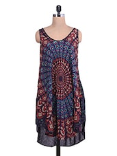 Multicoloured Printed Rayon High-low Tunic - By