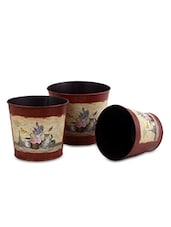 Set Of 3 Brown Metallic Planters - By