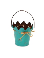 Teal Metallic Hanging Rope Bucket Planter - By