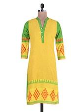 Yellow And Green Printed Cotton Kurta - By