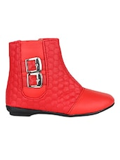 Solid Red Quilted Faux Leather Boots - By