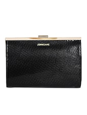 Black Leatherette Textured Clutch - By