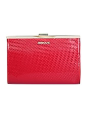 Red Leatherette Textured Clutch - By