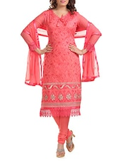 Pink Embroidered Unstitched Suit Set - By