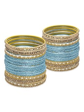 Sky Blue And Gold Bangles Set - By