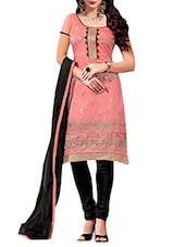 Pink And Black Embroidered Unstitched Suit Set - By