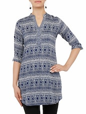 Blue Printed Quarter Sleeved Cotton Kurti - By