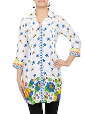 White Floral Printed Quarter Sleeved Cotton Kurta - By