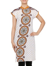 White Printed Short Sleeved Cotton Kurti - By