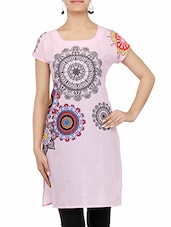 Baby Pink Printed Quarter Sleeved Cotton Kurta - By