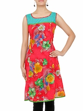 Red Floral Printed Sleeveless Cotton Flared Kurta - By