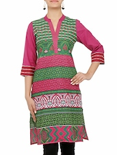 Pink And Green Printed Cotton Kurta - By