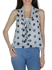 Light Blue Polka Dotted Georgette Top - By