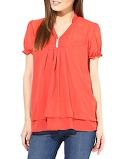 Solid Red Georgette Top - By