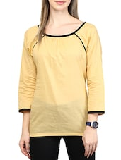 Yellow- Black Colored Cotton Top - By