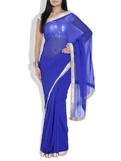 Royal Blue Poly Georgette Saree - By