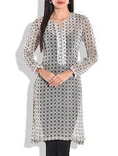 Grey And White Floral Printed Kurta - By