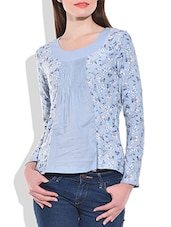Sky Blue Knitted Cotton  Top - By