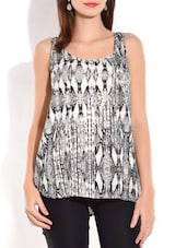 Black And White High Low Sleeveless Viscose Top - By