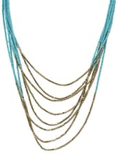 Turquoise And Gold Beaded Layered Necklace - By