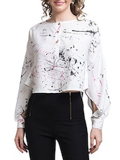 White printed Full Sleeve Top -  online shopping for Tops