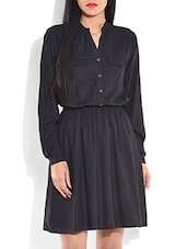 Solid Black Shirt Dress - By