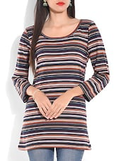 Multicoloured Striped Jacquard Cotton Top - By