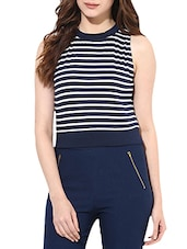 White And Navy Blue Cotton Jersey Striped Crop Top - By