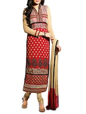 Beige And Red Embroidered Georgette Suit Set - By
