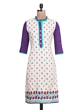 Purple And White Cotton Printed Kurta - By