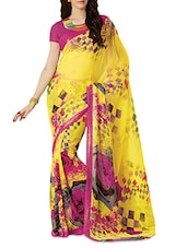 Yellow And Pink Printed Silk Saree - By