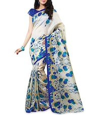 White & Blue Silk  Printed Sari With Blouse Piece - By