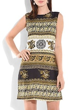 Multicolored Printed Sleeveless Rayon Dress - By